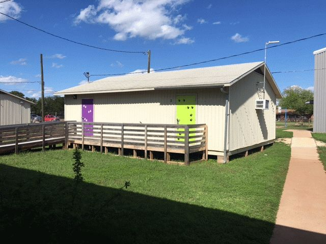 Johnston Elementary Portable Classroom Building #112; EXTERIOR: 24 Ft. X 32  Ft., Wood Frame, Gable Roof, Wood Floor And Metal Siding, Two Door  Openings, ...